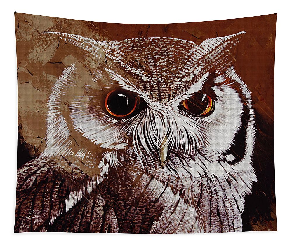 Owl Tapestry featuring the painting Owl Painting by Gull G