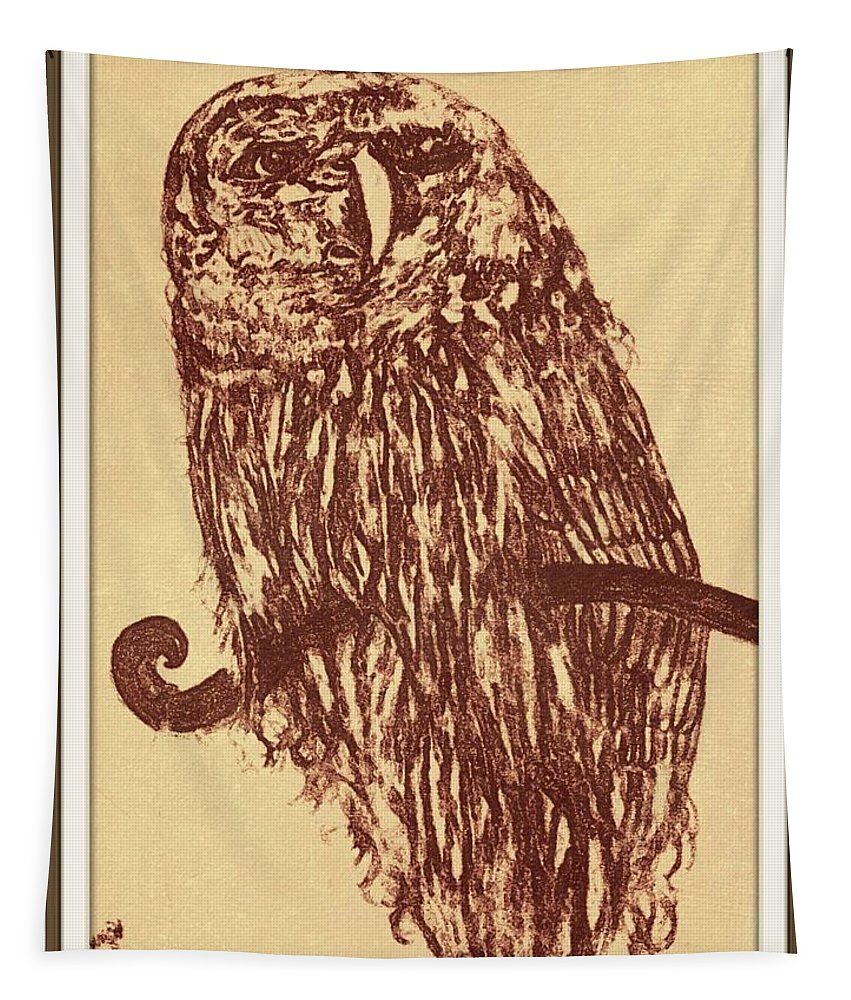 Owl Tapestry featuring the drawing Owl Pencil Sketch by Debra Lynch