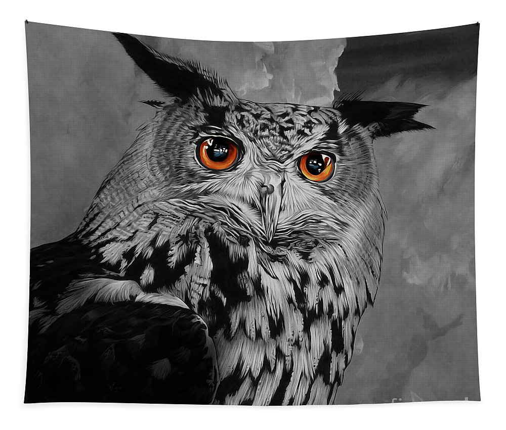 Owl Tapestry featuring the painting Owls Eye by Gull G