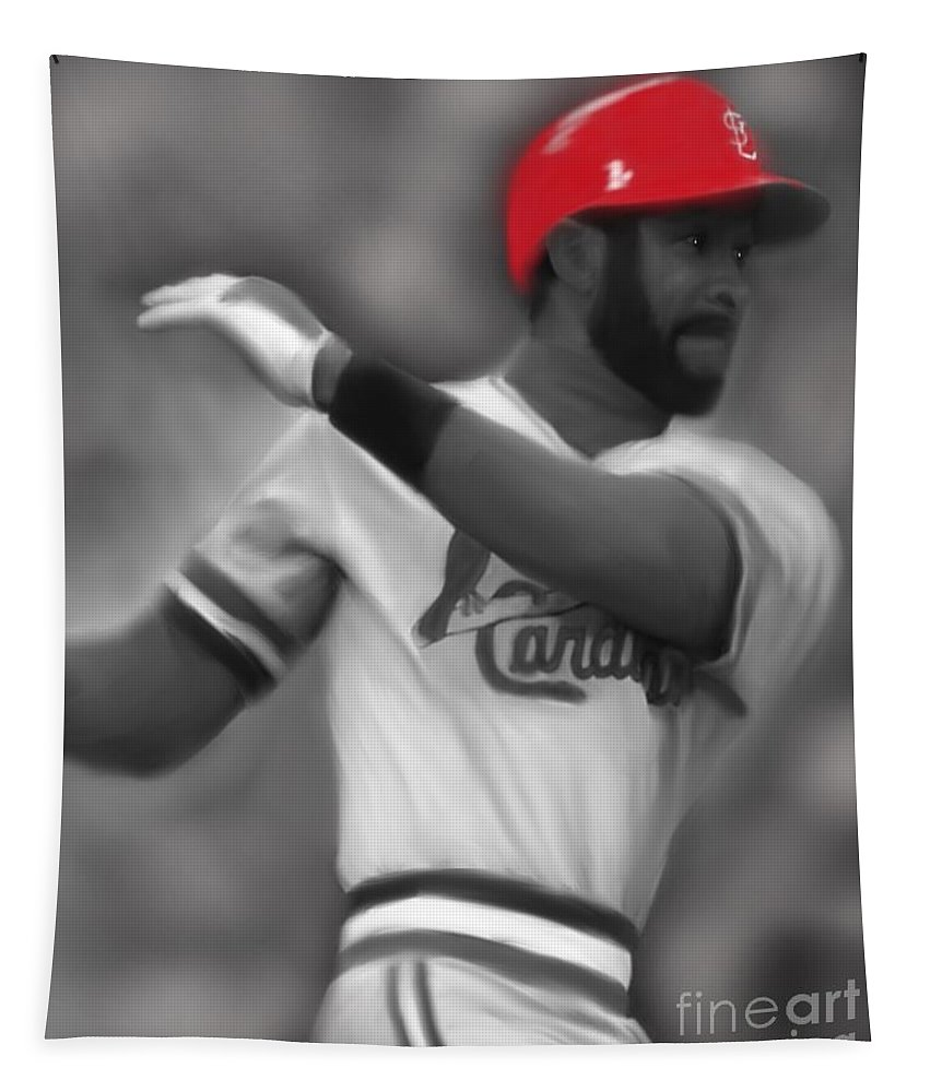 Ozzie Smith Tapestry featuring the painting Ozzie Smith by Jack Bunds