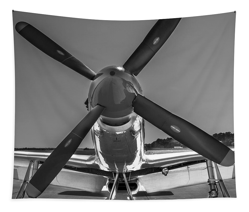 P51 Tapestry featuring the photograph P51 Mustang Vintage Aircraft by Dale Powell