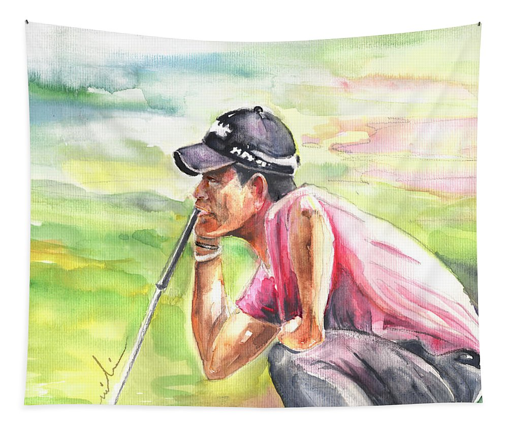 Sports Tapestry featuring the painting Pablo Larrazabal Winning The Bmw Open In Germany In 2011 by Miki De Goodaboom