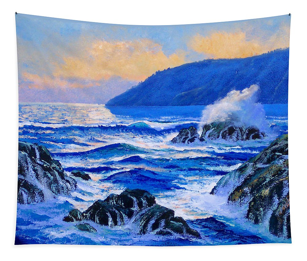 Ocean Tapestry featuring the painting Pacific Sunset by Frank Wilson