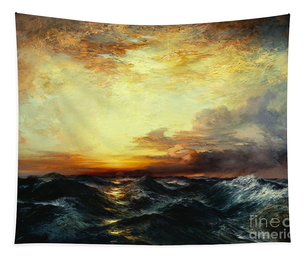 Thomas Moran Tapestry featuring the painting Pacific Sunset by Thomas Moran