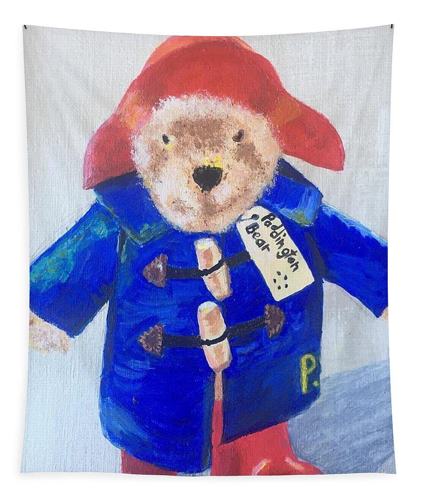 Paddington Bear Tapestry featuring the painting Paddington Bear by Rebecca Snowball