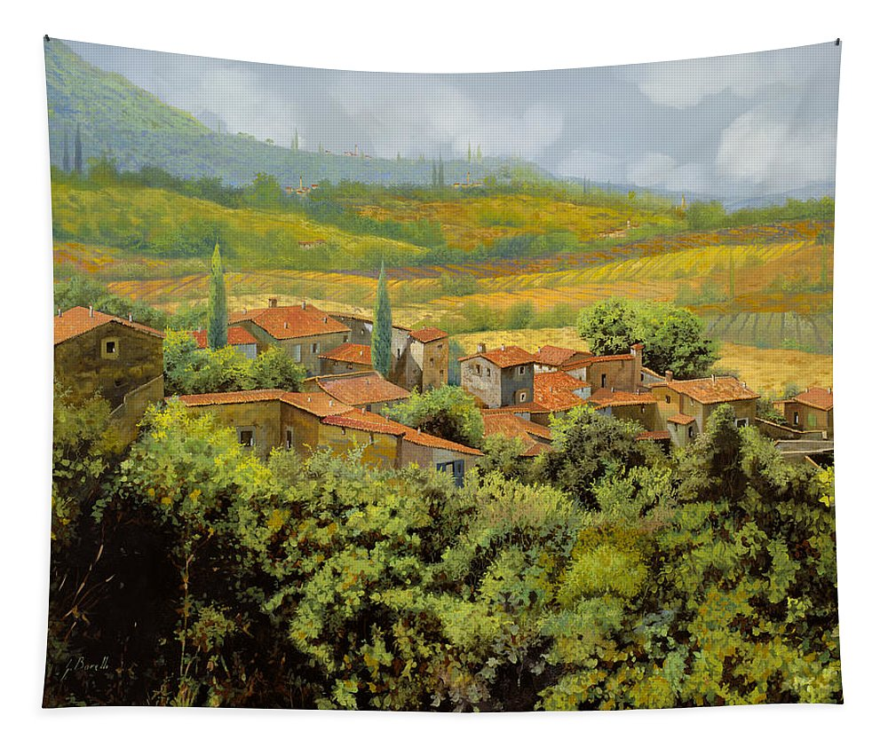 Tuscany Tapestry featuring the painting Paesaggio Toscano by Guido Borelli