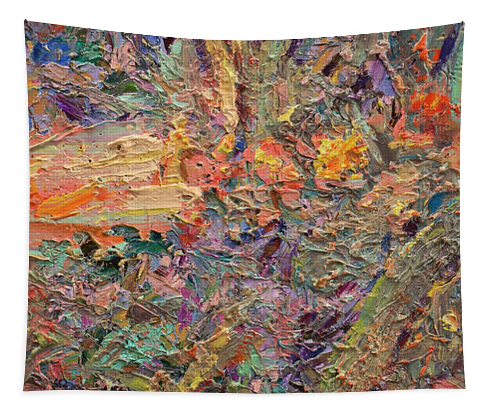 Abstract Tapestry featuring the painting Paint number 34 by James W Johnson