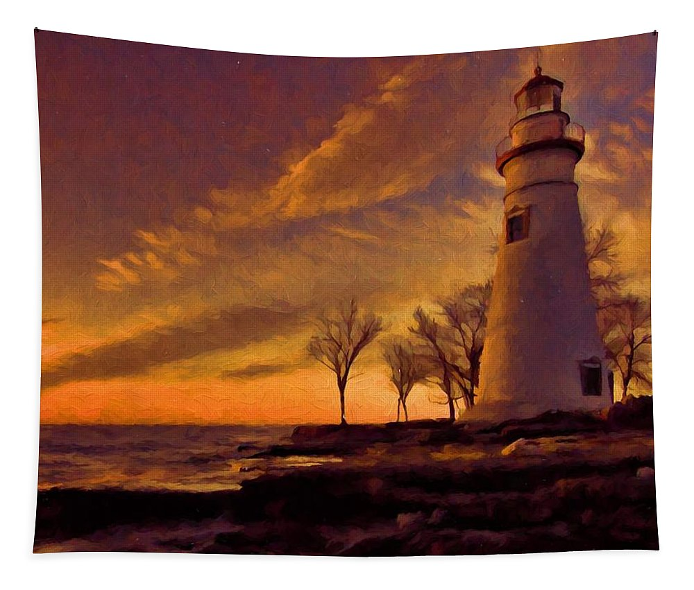 Painted Marblehead Lighthouse Tapestry featuring the painting Painted Marblehead Lighthouse by Dan Sproul