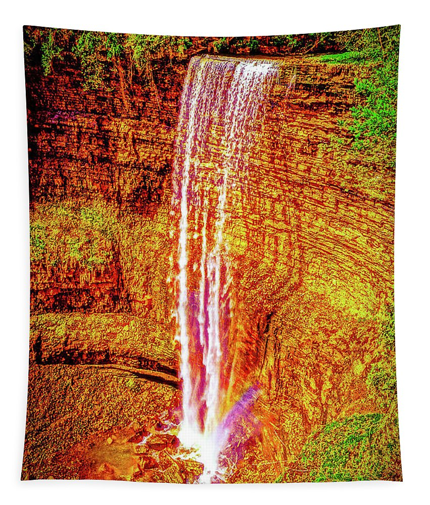 Ontario Tapestry featuring the photograph Painted Tews Falls					 by Daniel Thompson