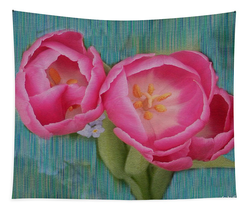 Flowers Tapestry featuring the photograph Painted Tulips by Linda Sannuti