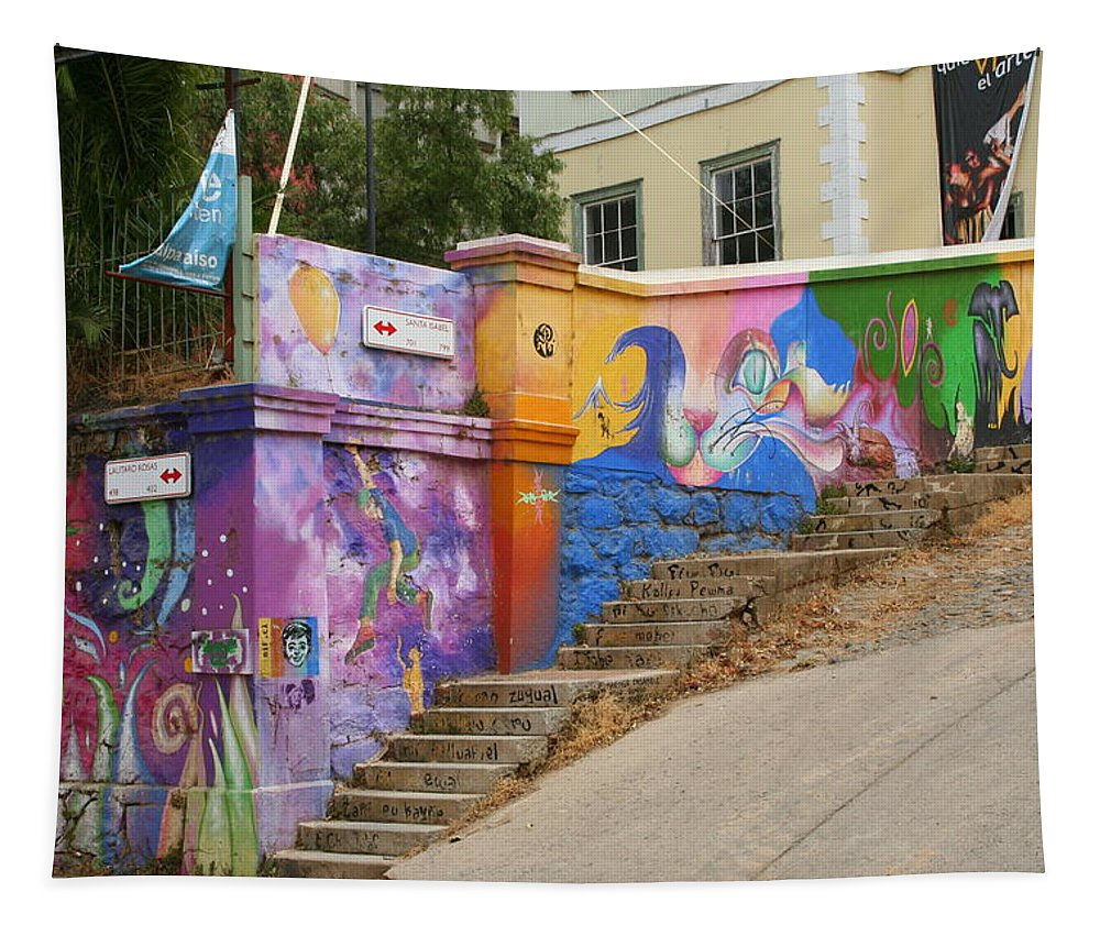 Painted Color Tapestry featuring the photograph Painted Walls In Valparaiso by Laurel Talabere