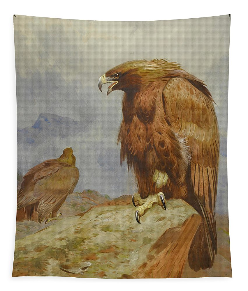 Golden Eagle Tapestry featuring the mixed media Pair Of Golden Eagles By Thorburn by Archibald Thorburn