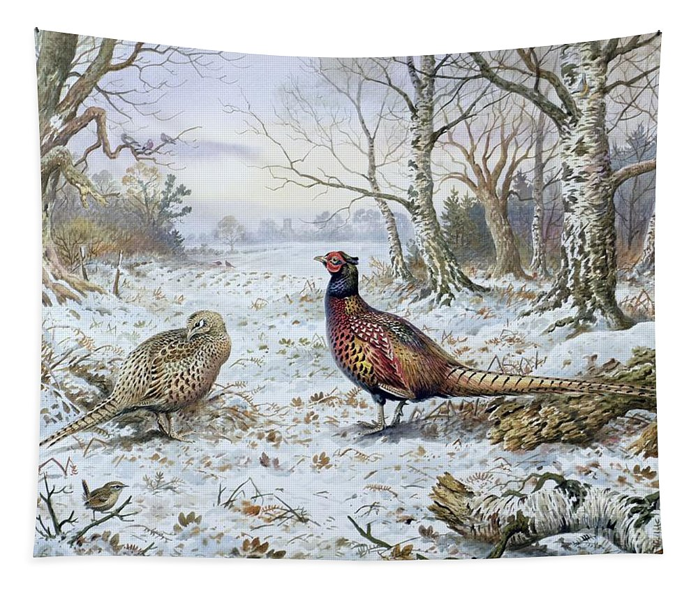 Game Bird; Snow; Woodland; Perdrix; Faisan; Troglodyte; Pheasant; Pheasants; Tree; Trees; Bird; Animals Tapestry featuring the painting Pair Of Pheasants With A Wren by Carl Donner