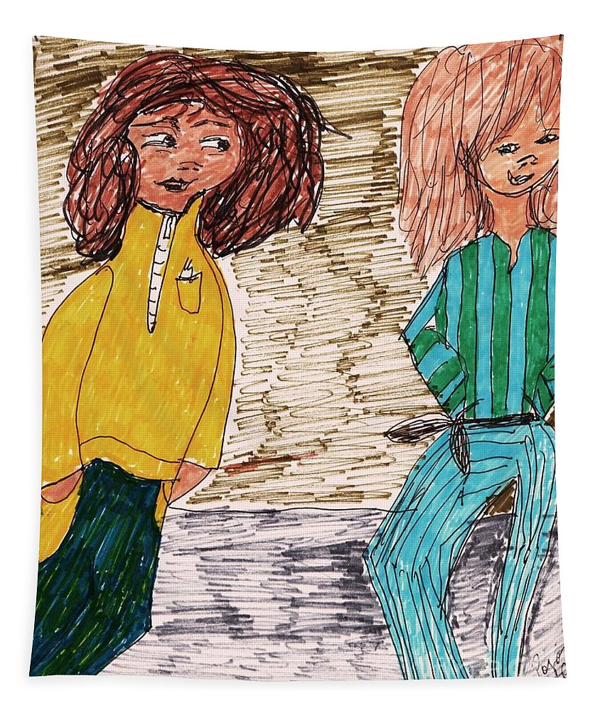 2 Girls One Wearing Pajamas And One In A Yellow Fleece Jacket Tapestry featuring the mixed media Pajama Party by Elinor Helen Rakowski
