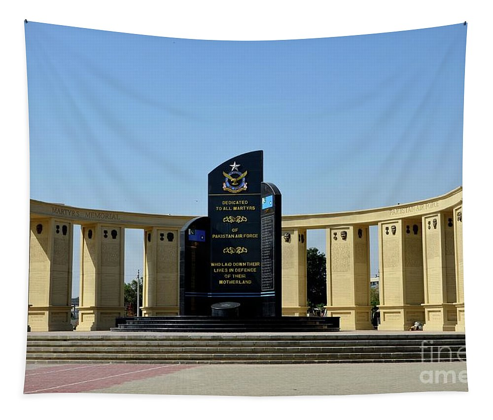 Monument Tapestry featuring the photograph Pakistan Air Force Martyrs Monument Honoring Dead Pakistani Airmen At Paf Museum Karachi Pakistan by Imran Ahmed