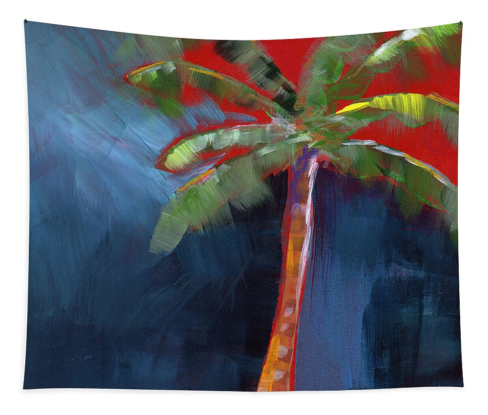 Palm Tree Tapestry featuring the painting Palm Tree- Art by Linda Woods by Linda Woods