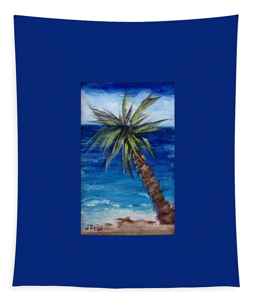 Palm Tapestry featuring the painting Palm Tree by Jamie Frier