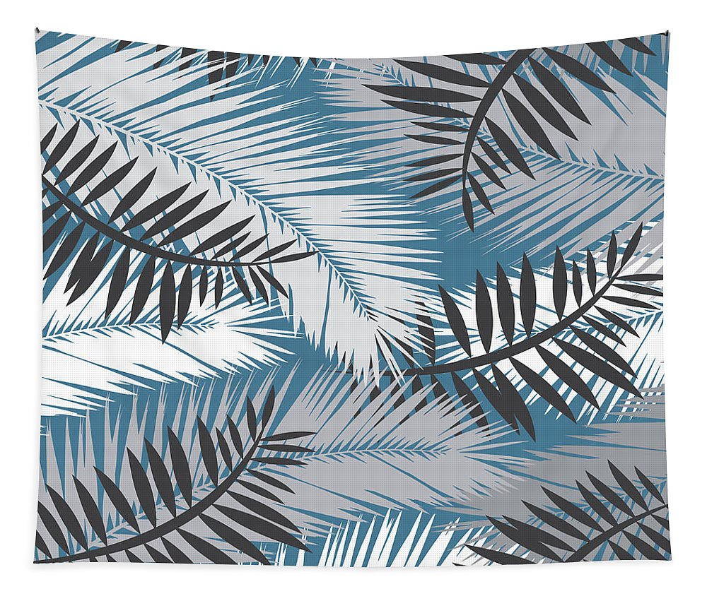 Summer Tapestry featuring the digital art Palm Trees 10 by Mark Ashkenazi