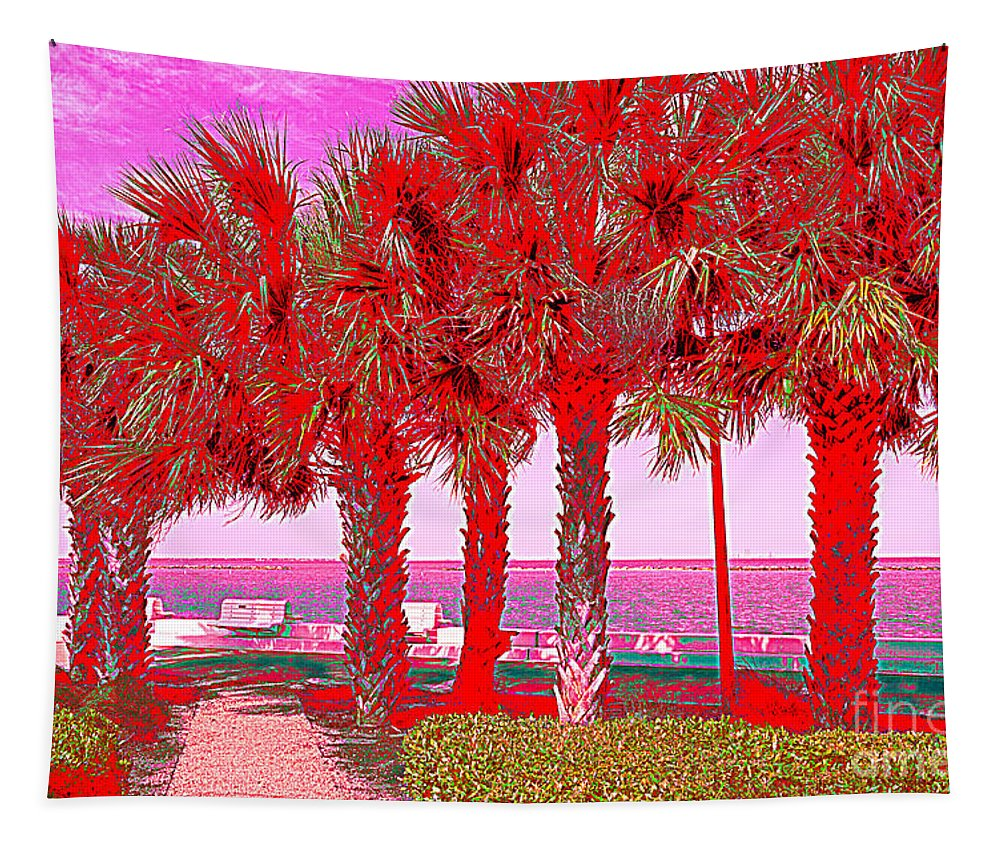 Bay Tapestry featuring the photograph Palms In Red by Debra Martz