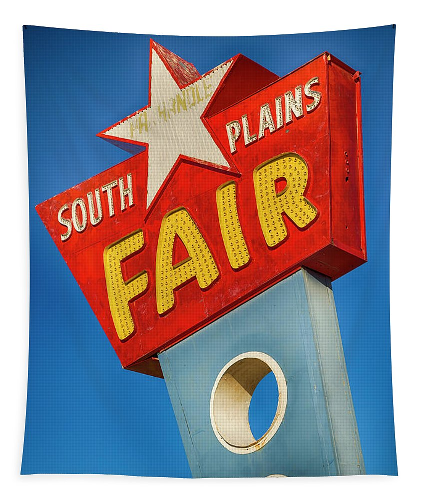 Lubbock Tapestry featuring the photograph Panhandle South Plains Fair Sign by Stephen Stookey