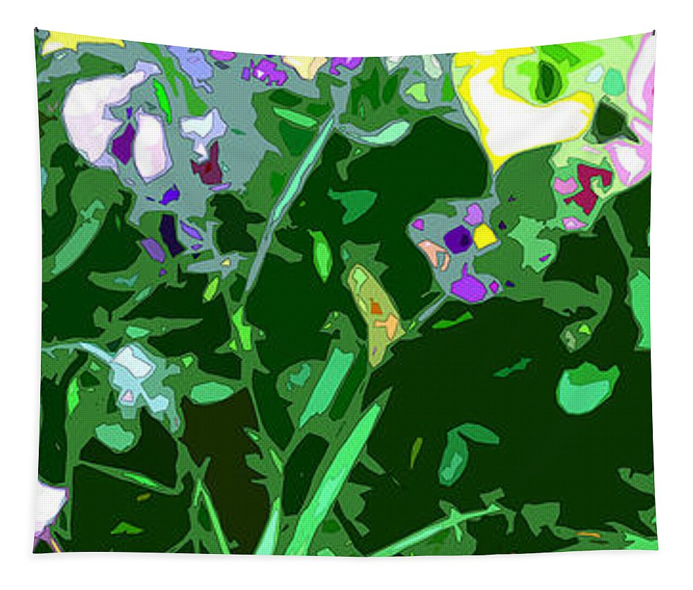 Abstract Tapestry featuring the digital art Pansy Flower Garden by Linda Mears
