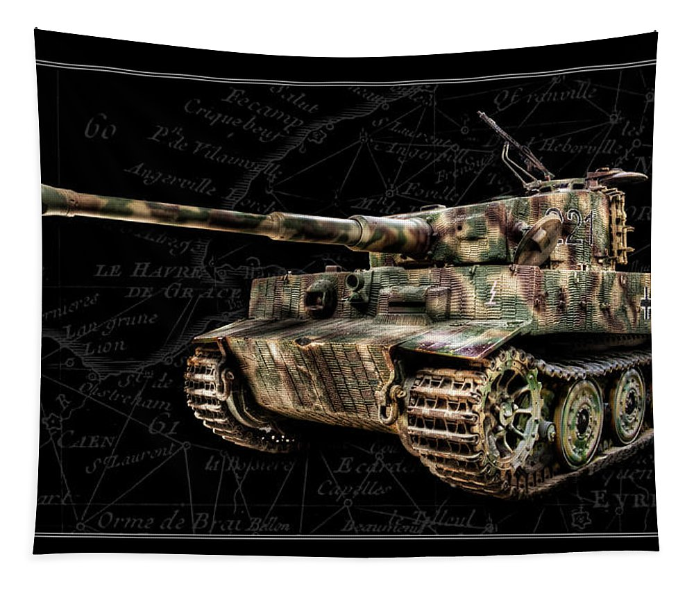 Panzer Vi Tapestry featuring the photograph Panzer Tiger I Side Bk Bg by Weston Westmoreland