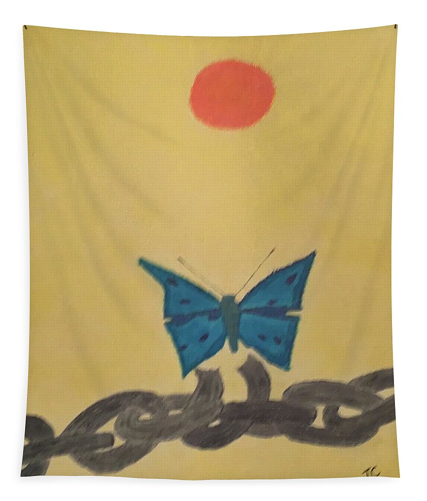 Papillon Tapestry featuring the painting Papillon by John Cunnane
