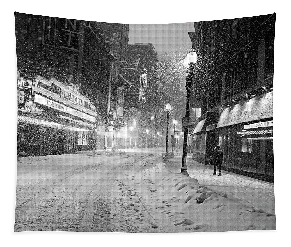 Boston Tapestry featuring the photograph Paramount Snowstorm Boston Ma Washington Street Black And White by Toby McGuire
