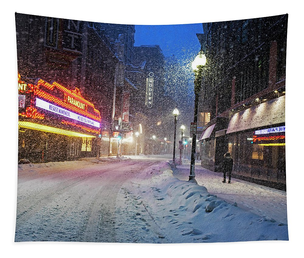 Boston Tapestry featuring the photograph Paramount Snowstorm Boston Ma Washington Street by Toby McGuire