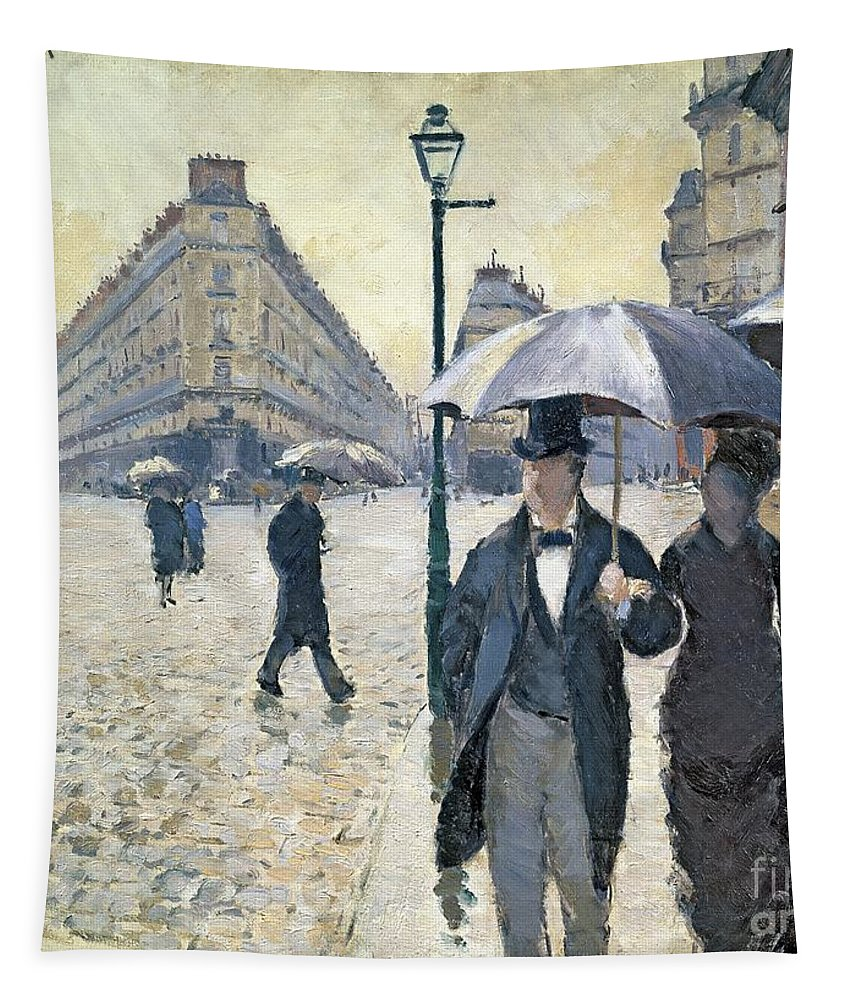 Sketch Tapestry featuring the painting Paris A Rainy Day by Gustave Caillebotte