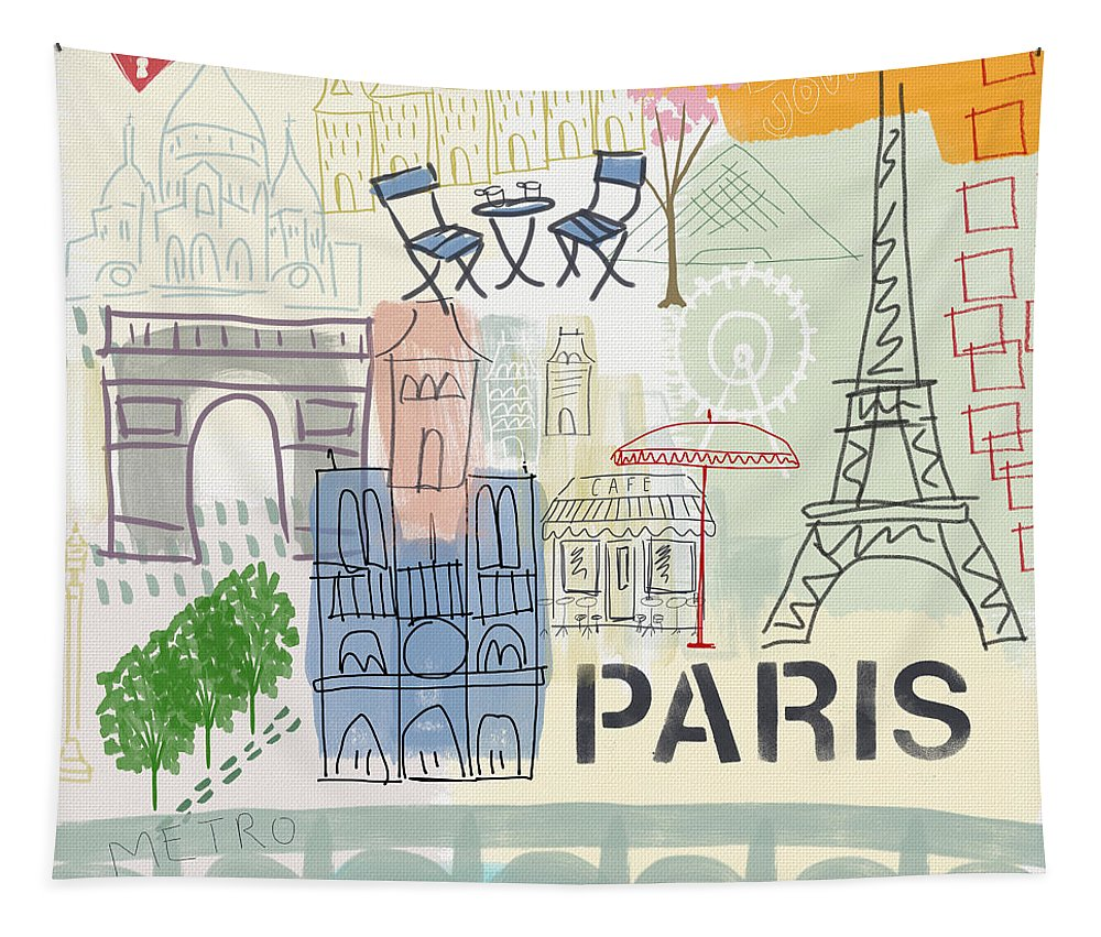 Paris Tapestry featuring the painting Paris Cityscape- Art by Linda Woods by Linda Woods