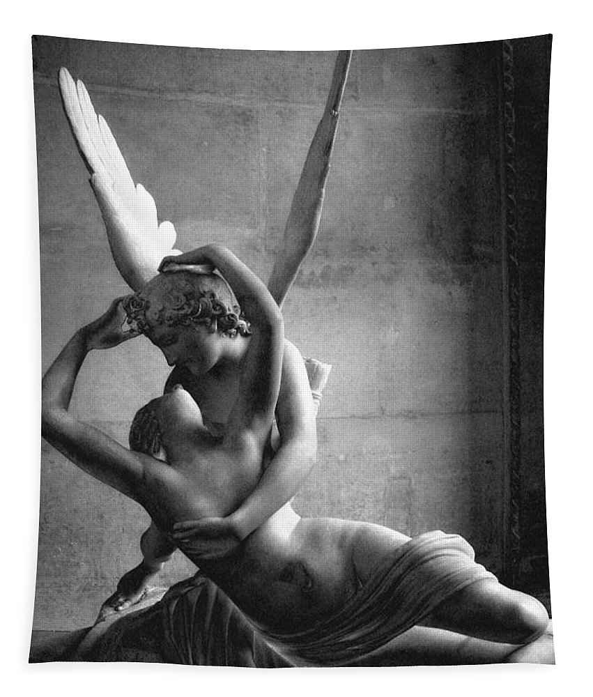 Paris tapestry featuring the photograph eros and psyche romantic lovers paris eros psyche louvre sculpture