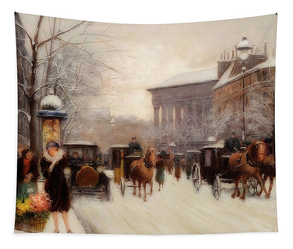Painting Tapestry featuring the painting Paris In Winter by Fausto Giusto