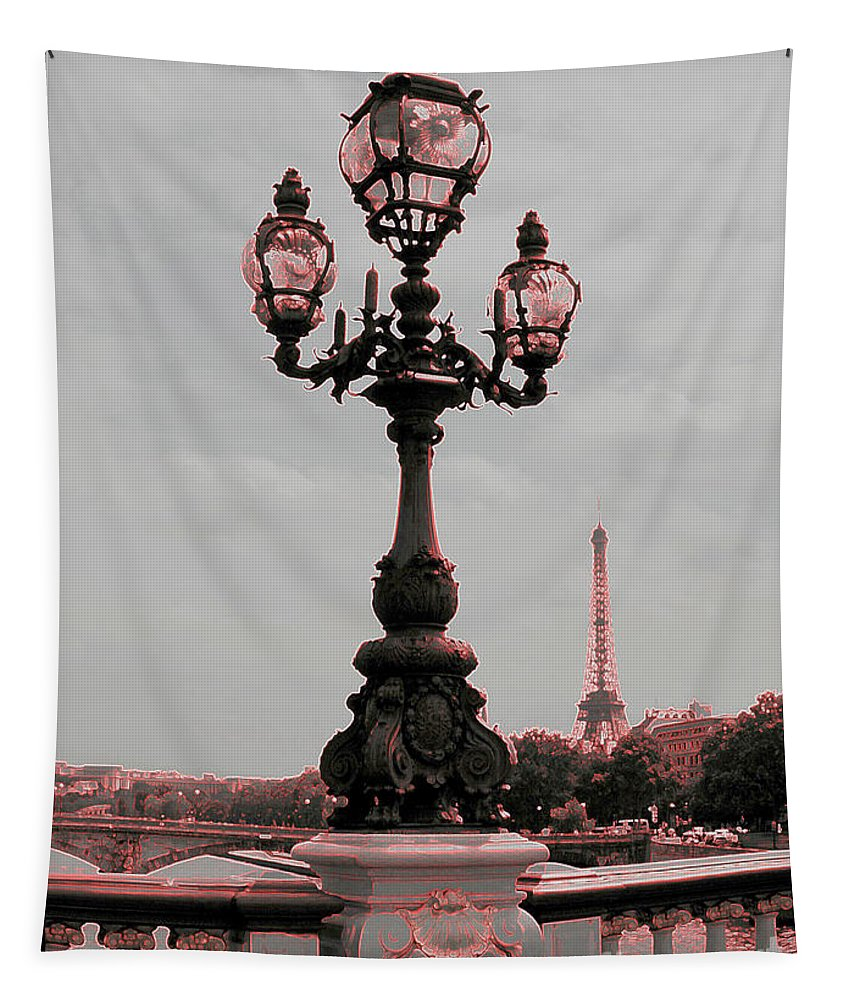 Paris Tapestry featuring the photograph Paris Luminaires And Eiffel Tower by Carol Groenen