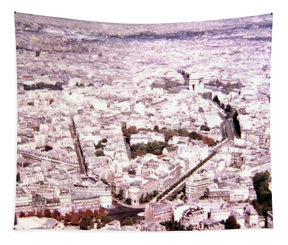 1955 Tapestry featuring the photograph Paris Panorama 1955 by Will Borden