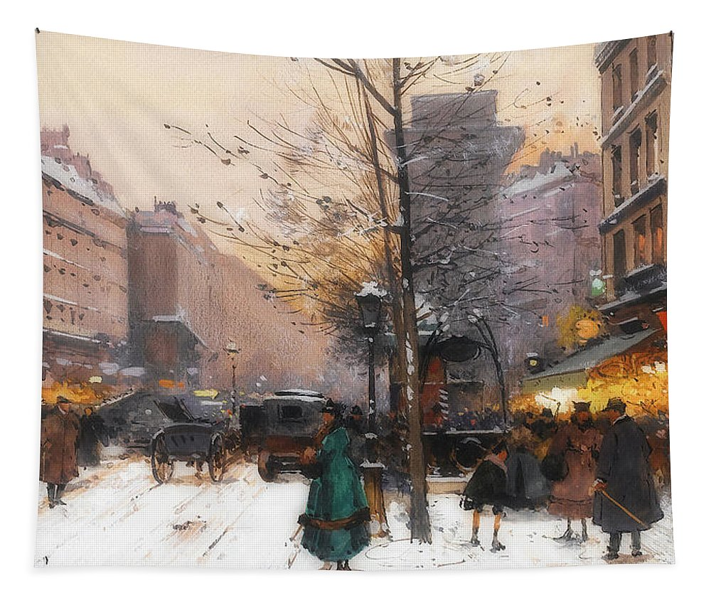 Painting Tapestry featuring the painting Paris, Porte Saint Denis In Winter by Eugene Galien-Laloue