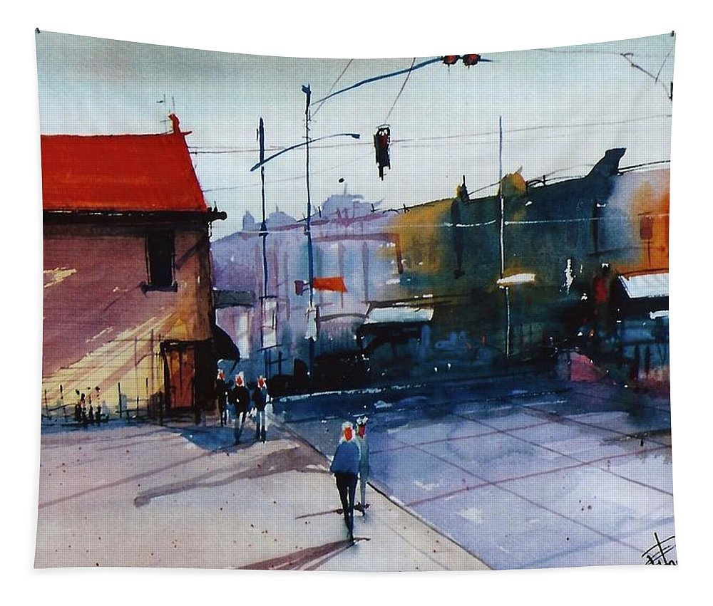 Cityscape Tapestry featuring the painting Park St Alameda by George Powell