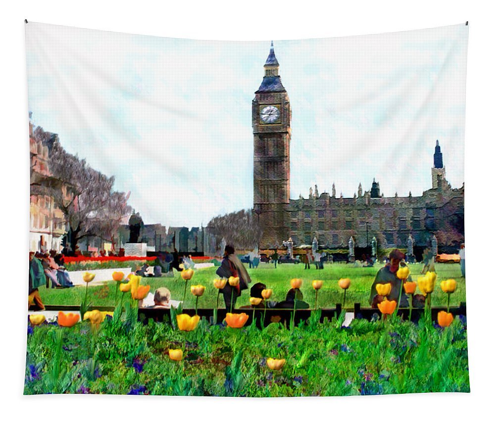 London Tapestry featuring the photograph Parliament Square London by Kurt Van Wagner