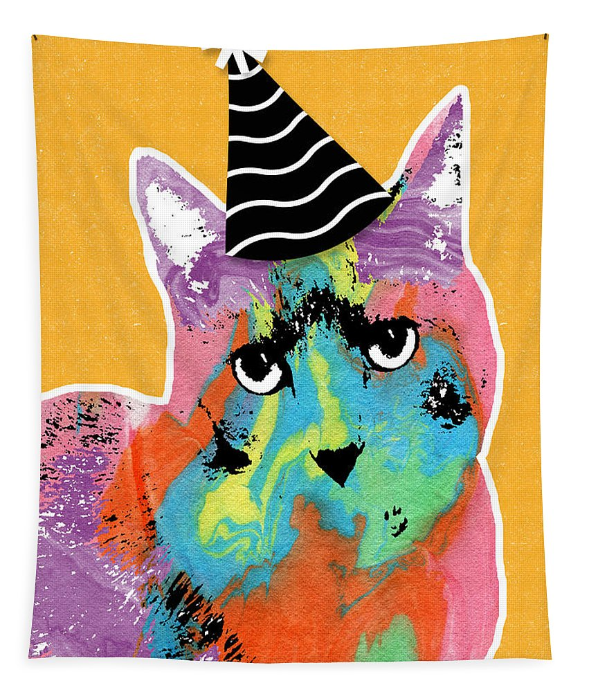 Cat Tapestry featuring the mixed media Party Cat- Art by Linda Woods by Linda Woods