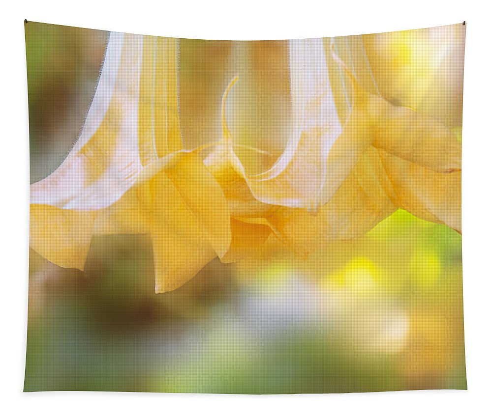 Trumpet Vine Tapestry featuring the digital art Pastel Trumpets by Terry Davis