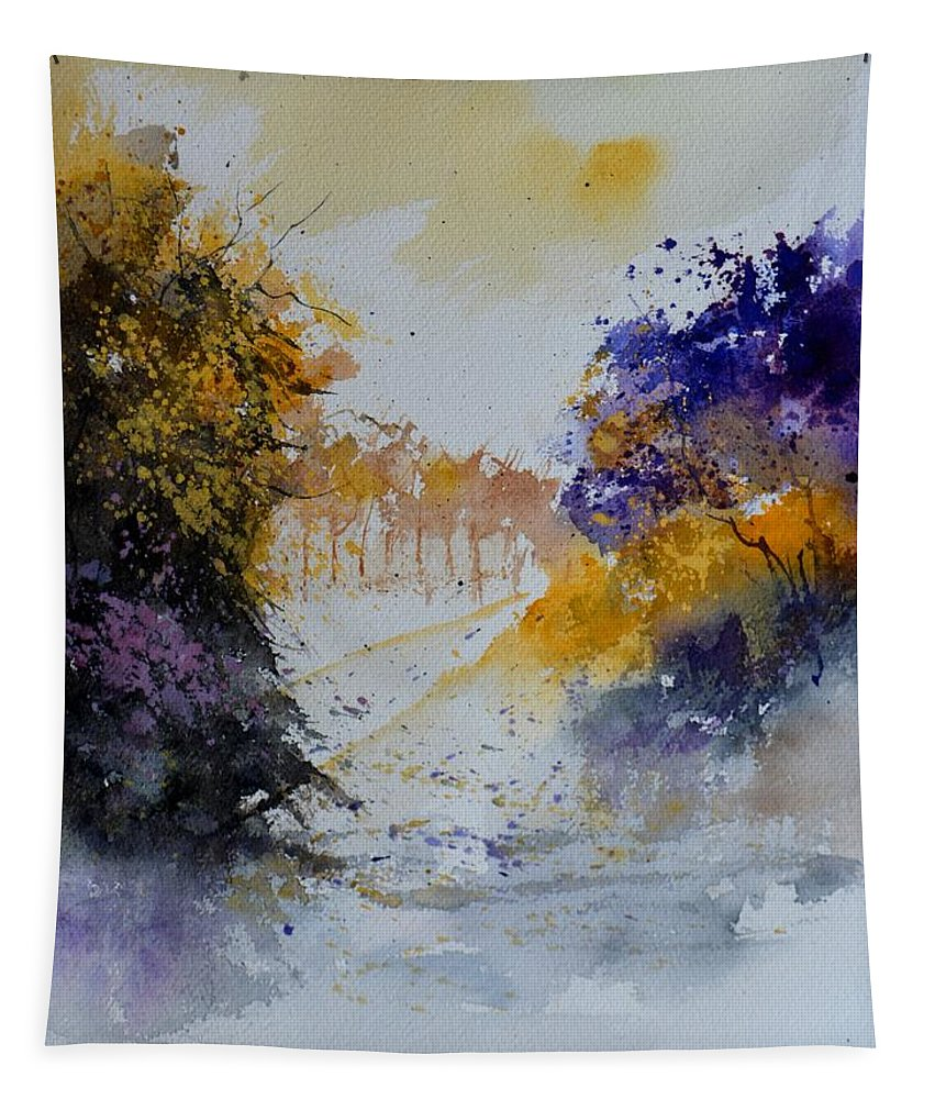 Landscape Tapestry featuring the painting Path To ... Watercolor by Pol Ledent