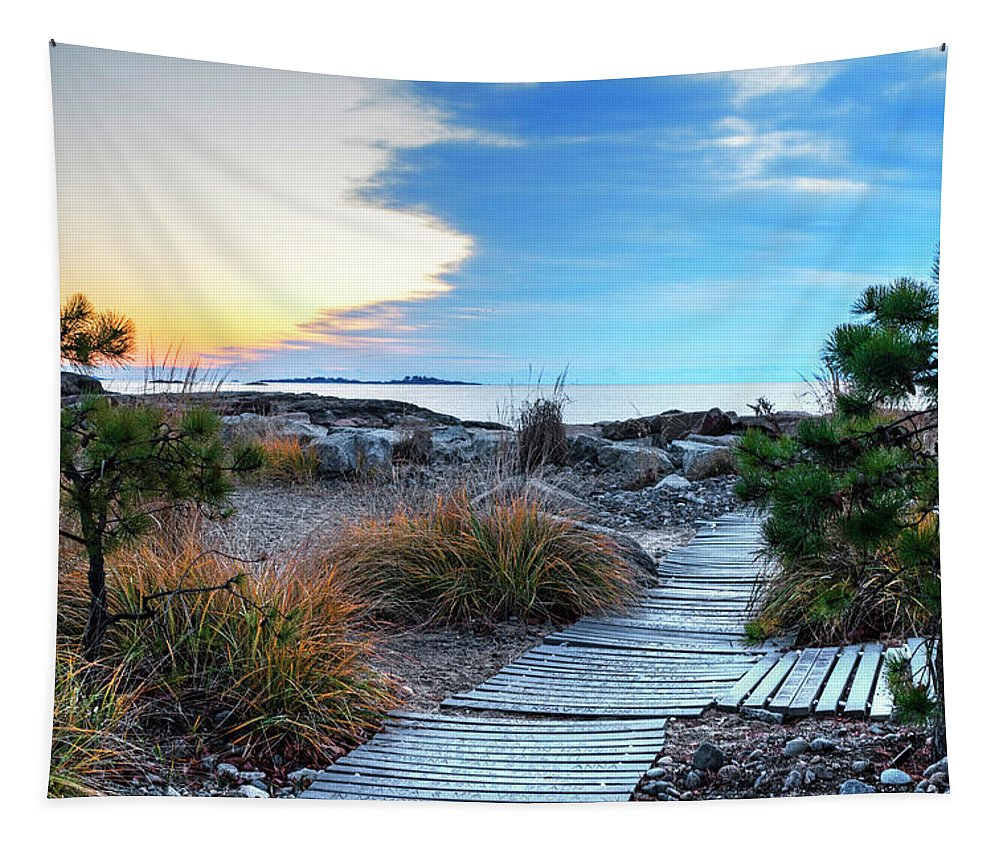 Preston Tapestry featuring the photograph Path To The Beach Preston Beach Marblehead Massachusetts Sunrise by Toby McGuire