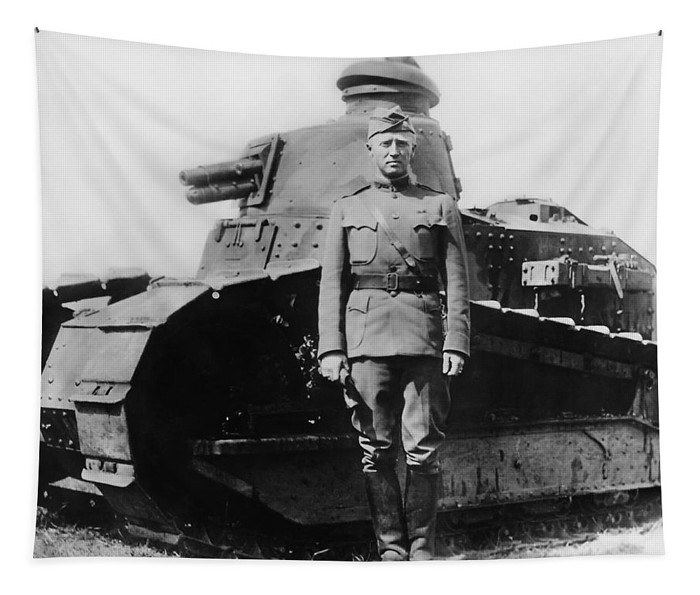 George Patton Tapestry featuring the photograph Patton Beside a Renault Tank - WWI by War Is Hell Store