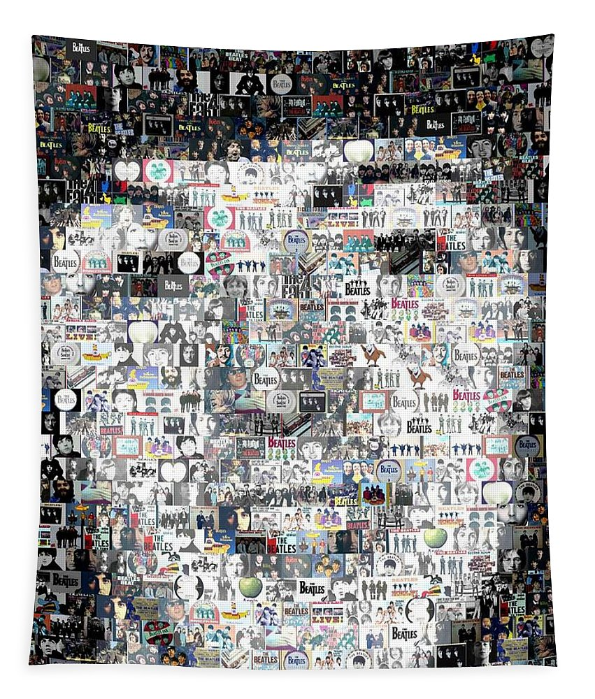 The Beatles Tapestry featuring the digital art Paul McCartney Beatles Mosaic by Paul Van Scott