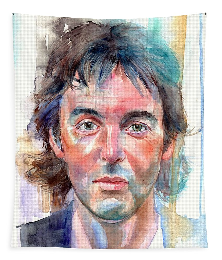 Paul Tapestry featuring the painting Paul McCartney young portrait by Suzann Sines