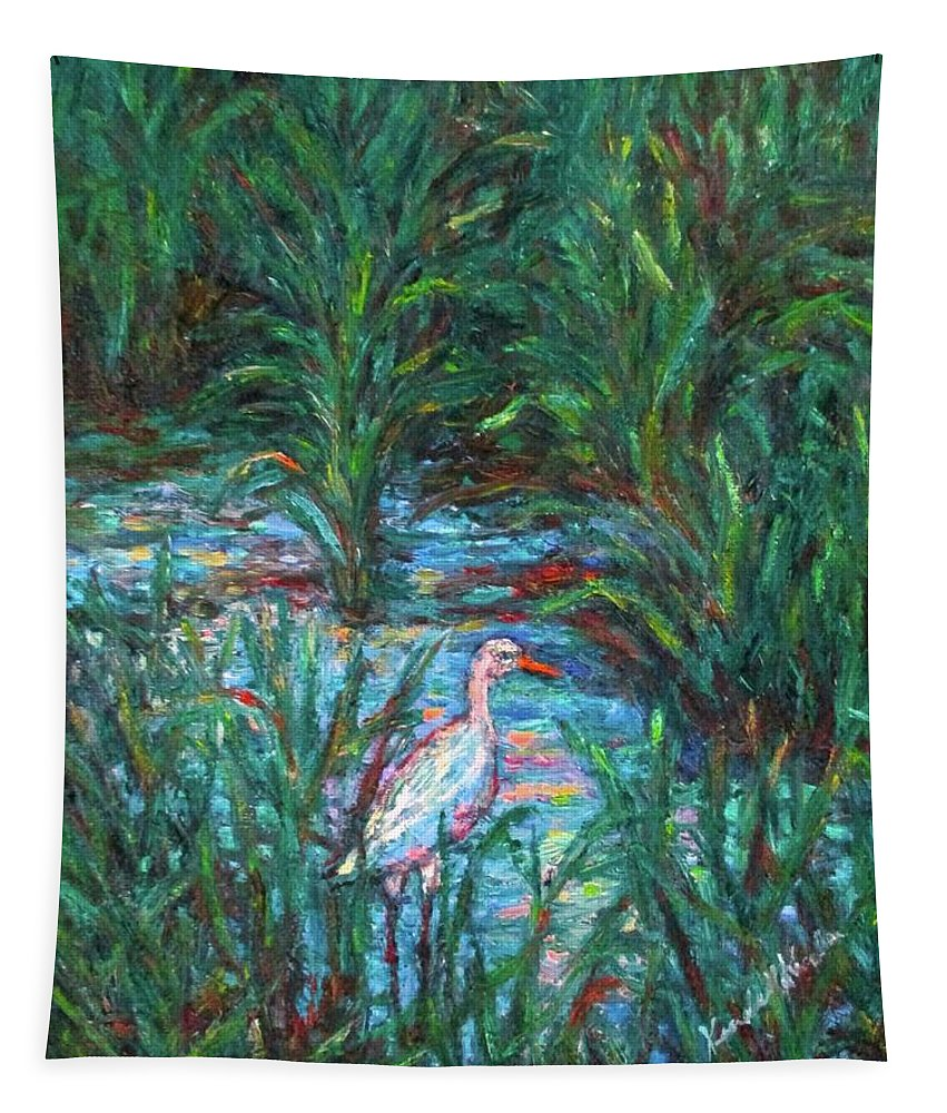 Egret Tapestry featuring the painting Pawleys Island Egret by Kendall Kessler