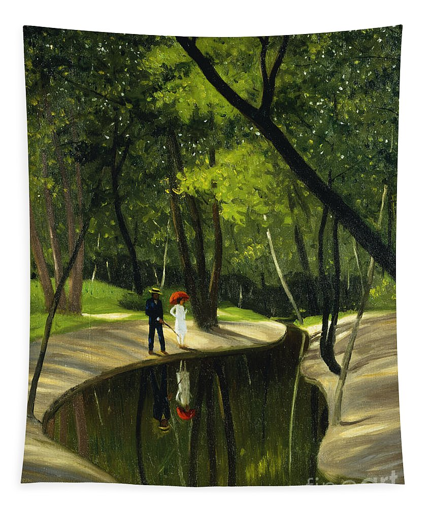 Paysage Du Boulogne Tapestry featuring the painting Paysage Du Boulogne, 1919 by Felix Edouard Vallotton