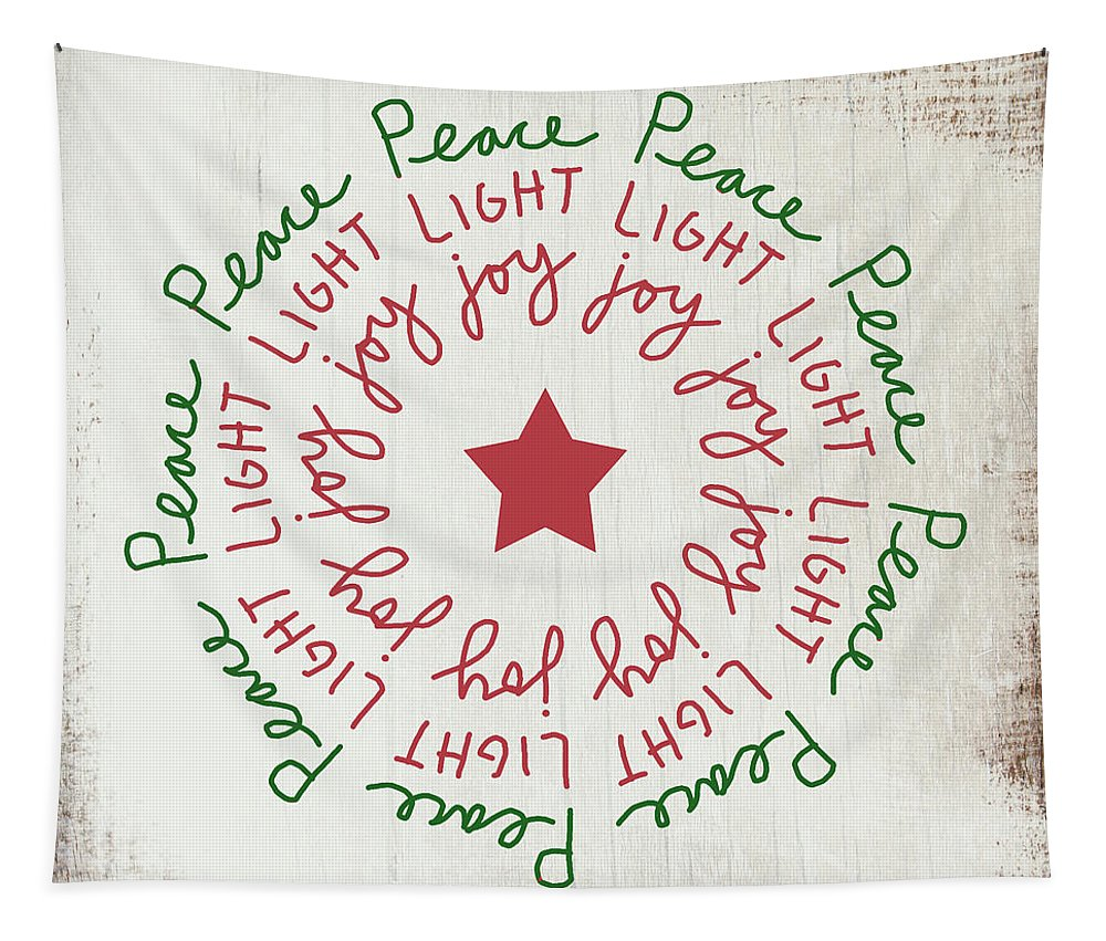 Peace Tapestry featuring the mixed media Peace Light Joy Wreath- Art By Linda Woods by Linda Woods