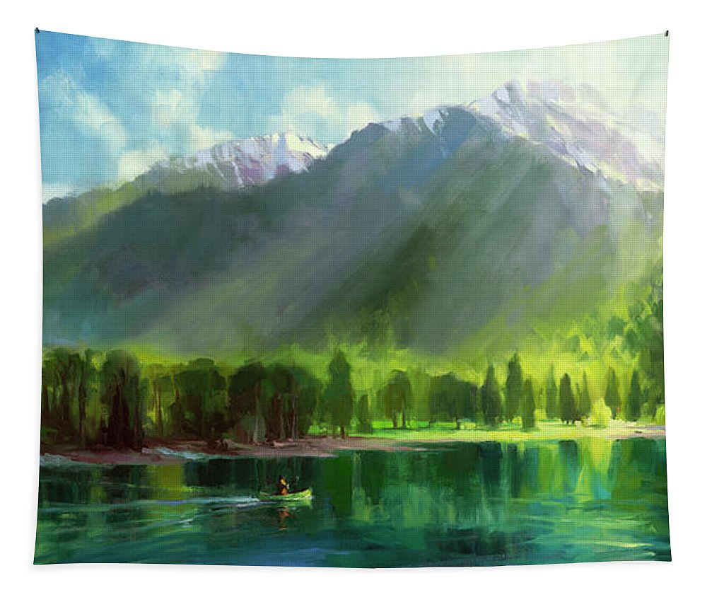 Mountains Tapestry featuring the painting Peace by Steve Henderson