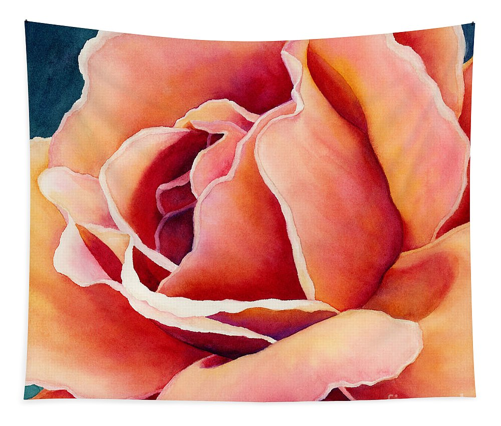 Rose Tapestry featuring the painting Peach Rose by Hailey E Herrera